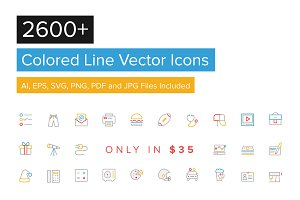 2600+ Colored Line Icons