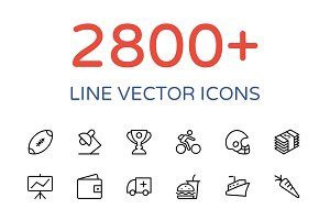2800+ Line Vector Icons Bundle