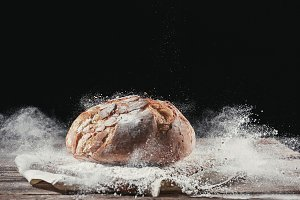 Fresh bread on table close-up
