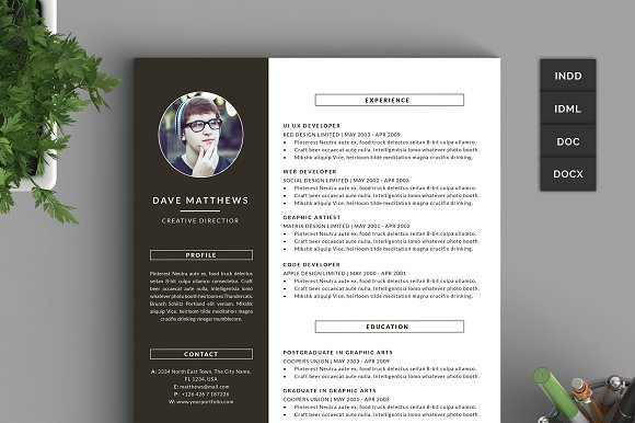 Hipster Resume/CV with Cover Letter - Resumes