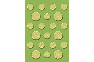 The lemon pattern on green background. Minimal concept.