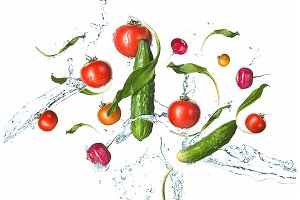 The fresh tomatos, cucumbers, radish in spray of water.
