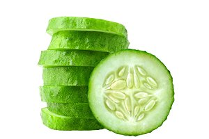 Cucumber slices isolated
