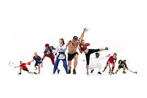 Sport collage about boxing, soccer, american football, basketball, ice hockey, fencing, jogging, taekwondo, tennis
