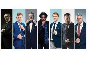 Collage of elegant men in suits