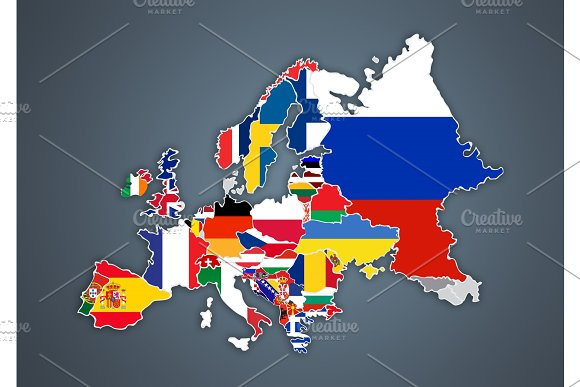 European Map With National Borders With Countries Flags