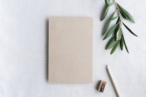 Flat Lay Kraft Brown Card & Pencil