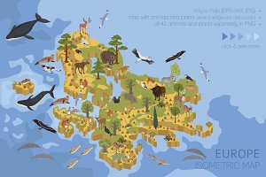 Europe isometric flora & fauna map
