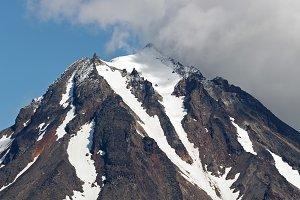 Top of rocky cone of volcano