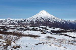Winter panorama mountain landscape