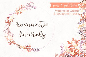 Romantic Laurels - Watercolor Pack