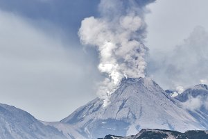 Mountain landscape, eruption volcano