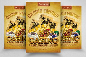 Retro Casino Night Flyer Templates