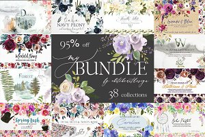 My Watercolor Floral Bundle-95% off
