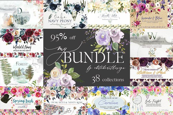 My Watercolor Floral Bundle-95% off…