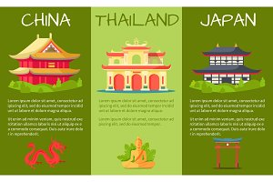 Asian Countries Touristic Vector Banners Set