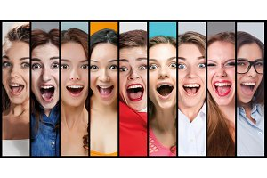 The collage of young woman smiling face expressions