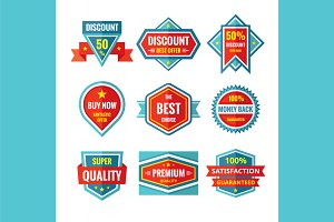 Vector Badges in Flat Style Design