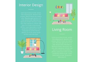 Interior Design Living Room Vector Illustration