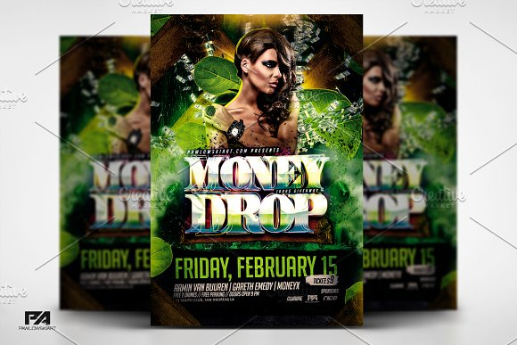 Money Drop In Jungle Party Flyer PSD