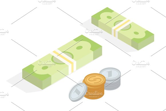 Money In Cash Isometric Projection Concept
