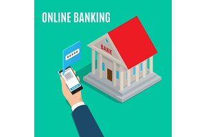 Online Banking Isometric Projection Vector Concept