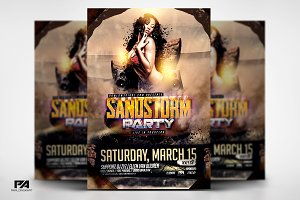 Sandstorm Party Flyer Template PSD