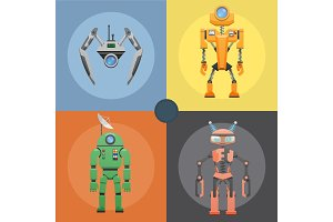 Set of Metallic Robots or Droids on Four Icons