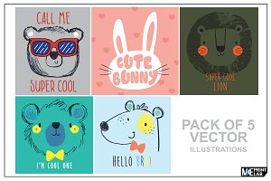CUTE ANIMAL FACES VECTOR PACK
