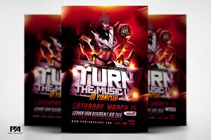 Turn The Music Up Flyer Template