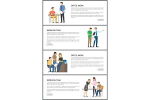 Set of Office Working Task Vector Illustration