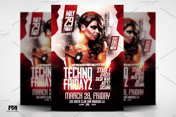 Techno Fridays Party Flyer Template
