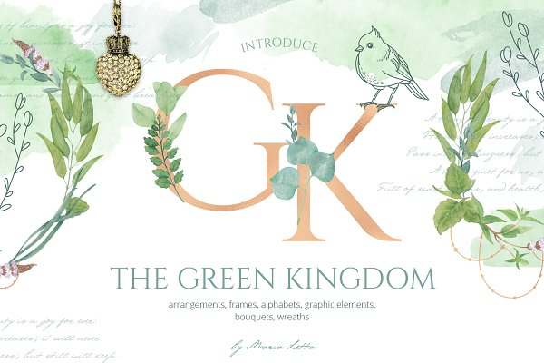Objects: beauty drops - The Green Kingdom graphic set