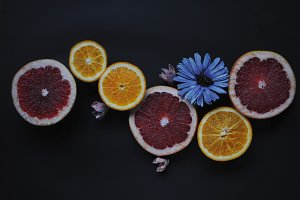 Fruits with flowers.