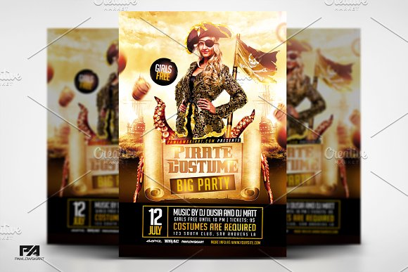pirate costume party flyer template flyer templates creative market