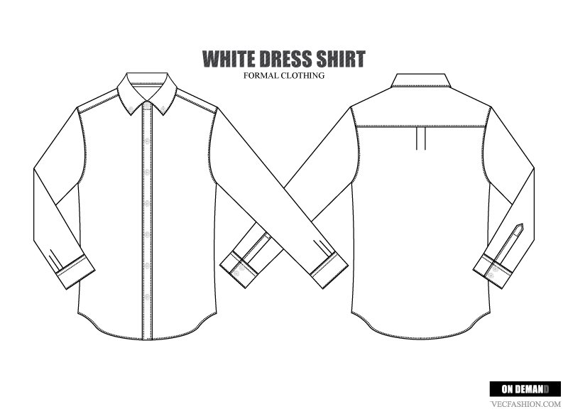 Men Dress Shirt Vector Template Illustrations Creative