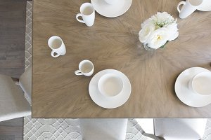 Above View of White Table Setting