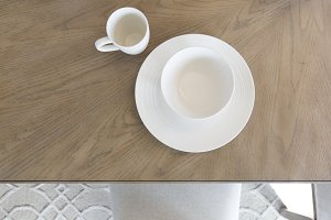 White Table Setting on Wood Grain