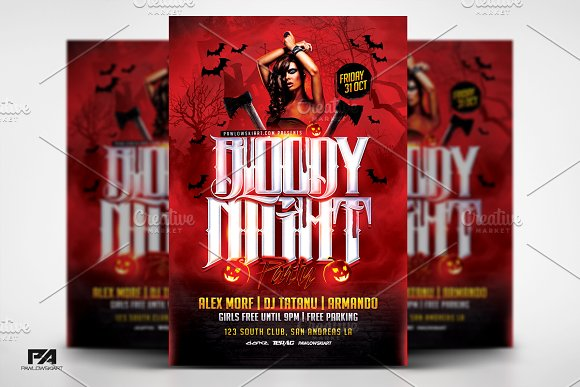 Bloody Night Party Halloween Flyer