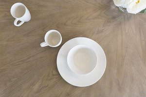 White Mugs on Wood Table