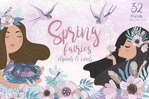Spring fairies clipart and card