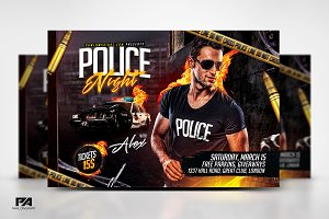 Police Night Party Horizontal Flyer