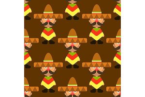 Seamless vector colorful Mexican pattern