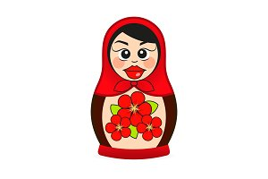 Matryoshka doll dressed in a sarafan with flower ornament