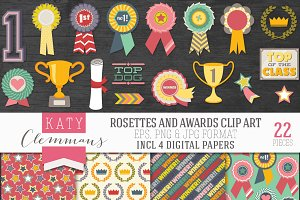 Rosettes and Awards clip art pack