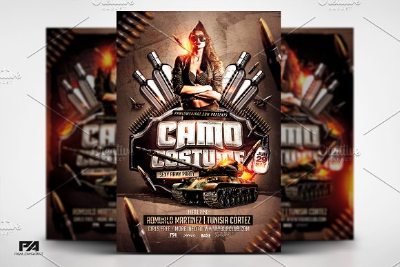 Camo Costume Party Flyer Template