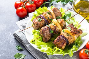 Grilled shish kebab or shashlik close up.