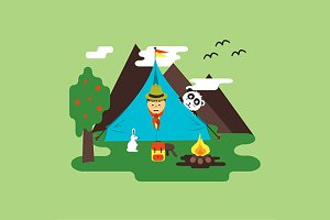 Scout in tent - nature and friendly