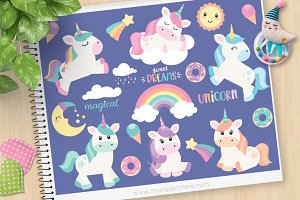 Magical Unicorns Vector Clipart, SVG