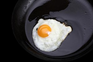 fried eggs on black pan